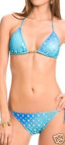 cb3cb8e3e8 GUESS Viva Blue Gold Foil Logo Bikini Swimsuit Bathing Suit New ...