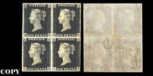Great-Britain-1840-One-Penny-Black-Block-of-Four-48000-Replica