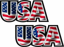 "2 - 3"" x 1.3"" USA Decal Set American Flag United States Vinyl Car Bumper Sticker"