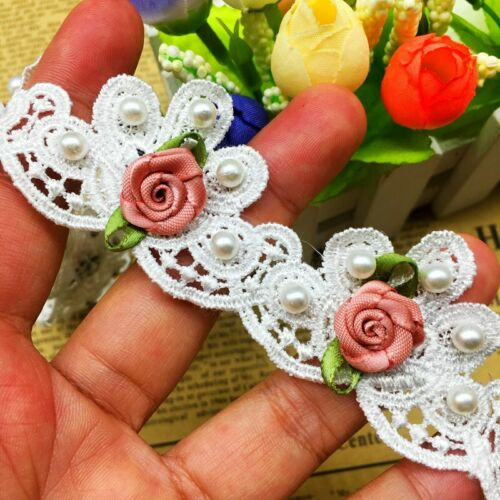 10x Pearl Rose Flower Lace Trim Ribbon Wedding Dress Applique DIY Sewing Craft