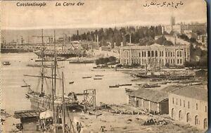 Constantinople-La-Corne-d-or-postcard-antique-harbour-scene-Turkey