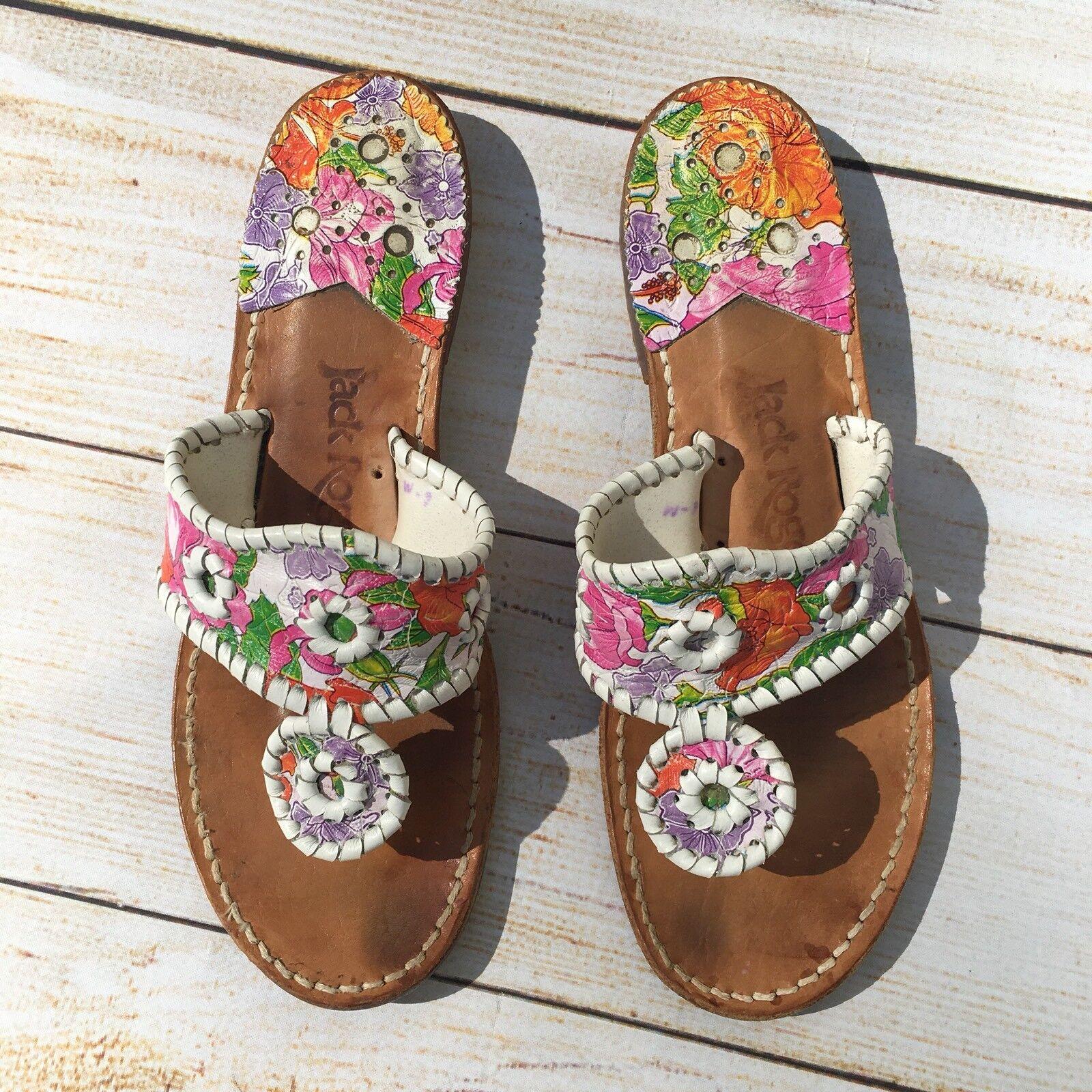 Jack Rogers Floral Leder Thong Sandales WEISS Purple Pink Green Größe 6