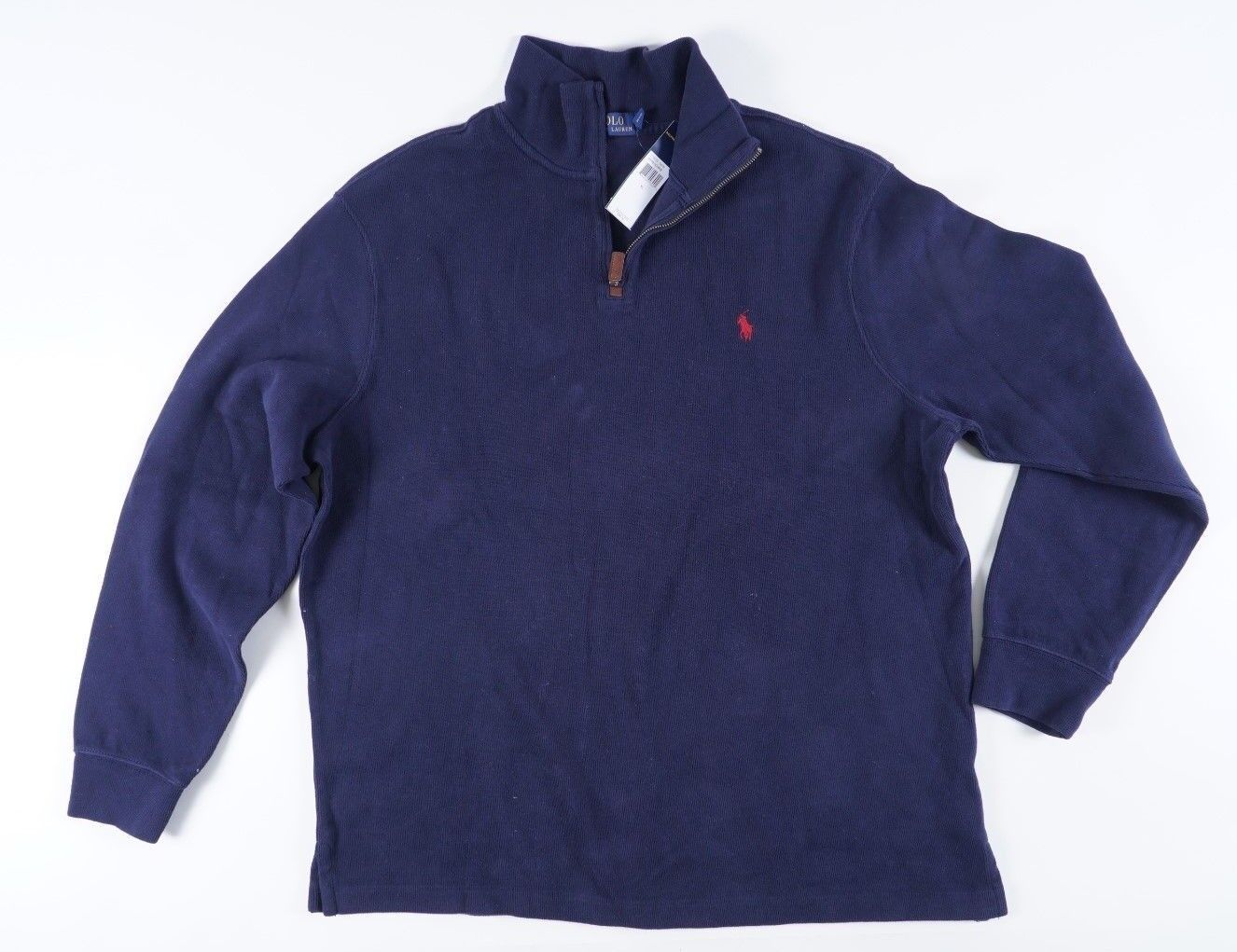 06fcb803 Polo Ralph Lauren XL bluee Ribbed Knit Cotton 1 Zip Sweatshirt w Red Pony 2  Navy ncszxw1912-Sweaters