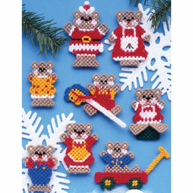 plastic canvas christmas ornament kit teddy bears 3 high set of 8 easy craft - Plastic Canvas Christmas Ornaments