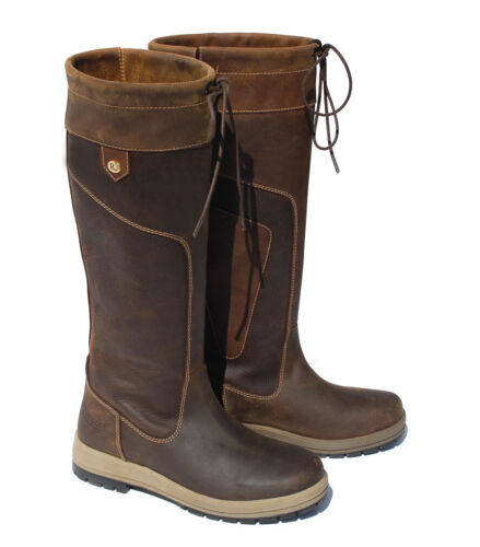 SALE Waterproof Rhinegold Vermont Long Leather Country Boot UK3UK8 STD & WIDE