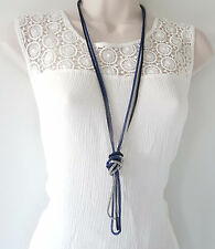 """Gorgeous 46"""" long black, blue & silver tone 3 row - layered chain necklace"""