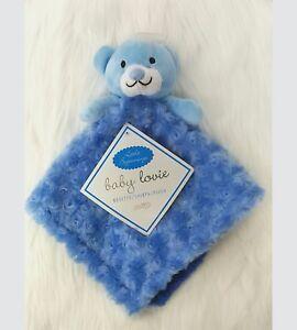 Little-Beginnings-Bear-Lovey-amp-Security-Blanket-Blue-Rosette-Sherpa-B240
