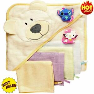 Baby-Bath-Gift-Set-Hooded-Towel-6-Washcloths-2-Suction-Cup-Hooks-Massage
