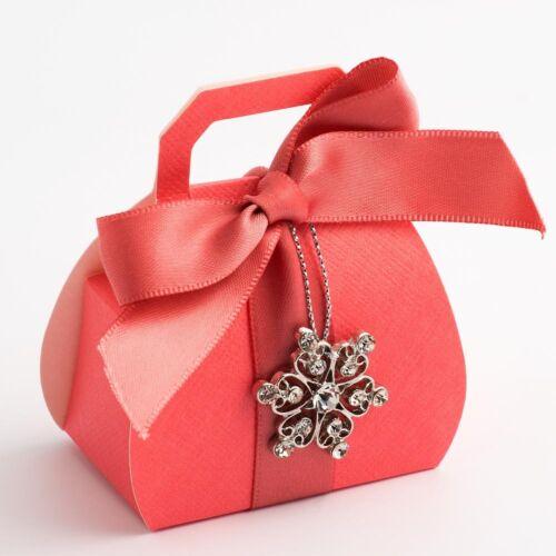 Corail Soie Mariage Fête D/'anniversaire Faveur Cadeau Boîtes-Pack de 10