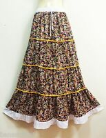 PEASANT BOHO CASUAL LONG SKIRT COTTON MULTI-COLOR FLORAL SUMMER BEACH S M L XL