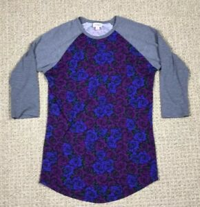 2ab151fc3 Details about LulaRoe Randy Top Shirt Raglan 3/4 Sleeve Gray Purple Floral  Print Women's S