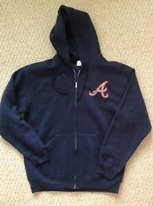 reputable site 91e43 8c3c3 Details about Atlanta Braves Women's navy hoodie full zip sweatshirt jacket  size Medium NWOT