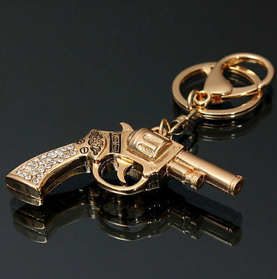 Keychain Chain Charm Pendant Rhinestone Keyring Bag Ring Crystal Gun Key 2016
