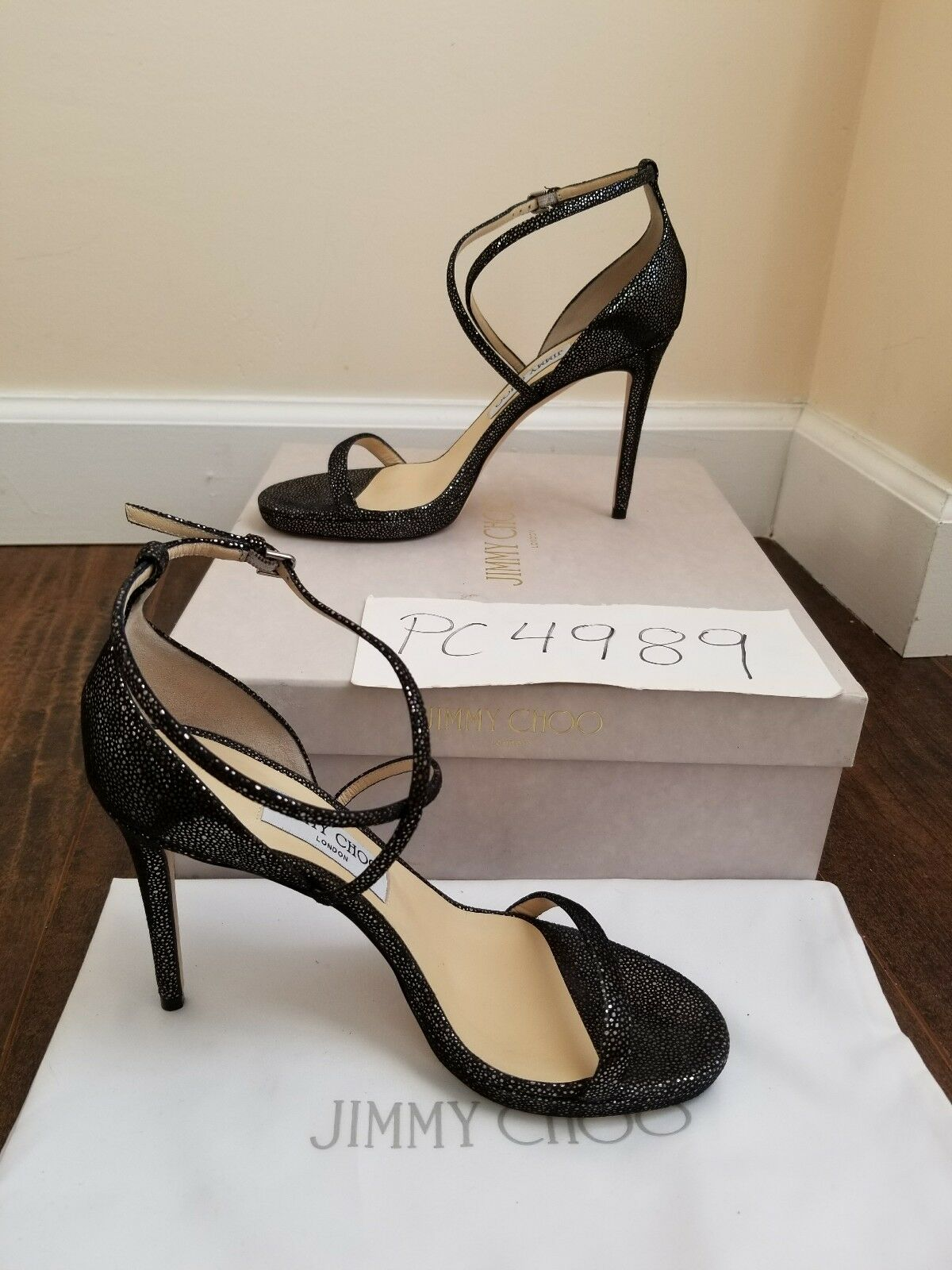NWT Jimmy Choo HARPER 100 metallic spotted spotted spotted heels pumps 39.5 US 9 9.5 receipt 4b6877