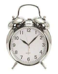Retro-Double-Bell-Chrome-Alarm-Clock-6-034-High-By-5-034-Wide