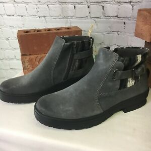 Tate Earth Origins Water Repellent Suede Leather Ankle Boots Grey NEW