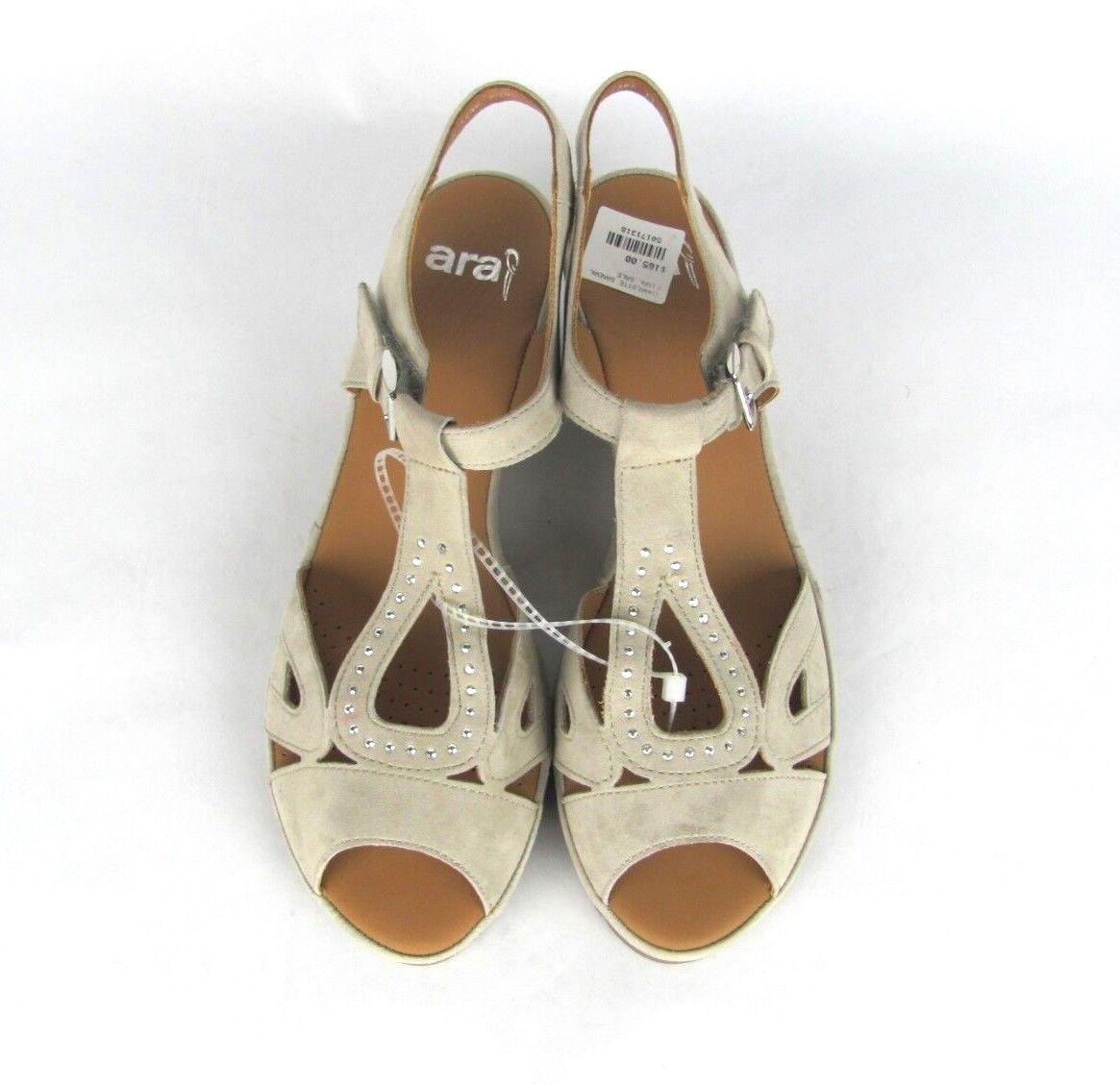 Ara Womens Womens Womens 6 Charlotte T Strap Wedge Lino Suede Sandals e8353a