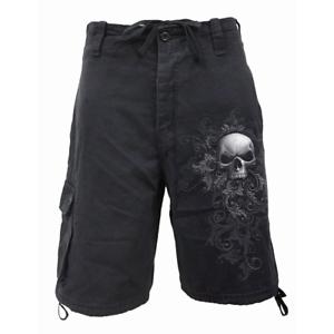 Spiral Shorts Skull Scroll Cargo Black Vintage