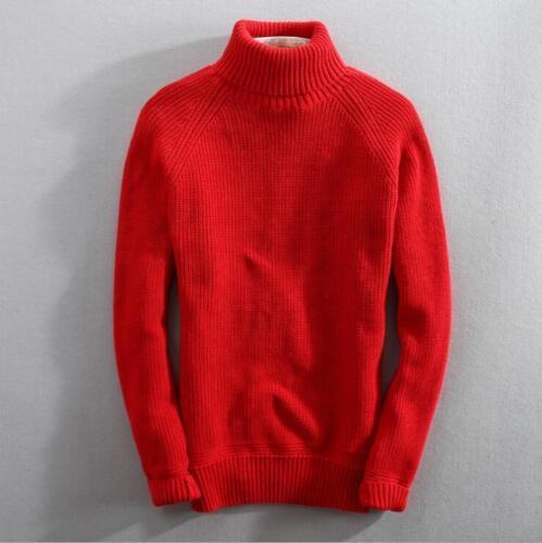 con uomo da Maglietta lavorato a inverno maglione alto spessore maniche a da maglia a lunghe in Ths01 collo uomo alto collo di UAIrOqAn