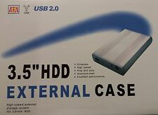 3.5 SATA HARD DRIVE CADDY HDD CASE ENCLOSURE USB 2.0 SILVER ALUMINIUM RETAIL BOX
