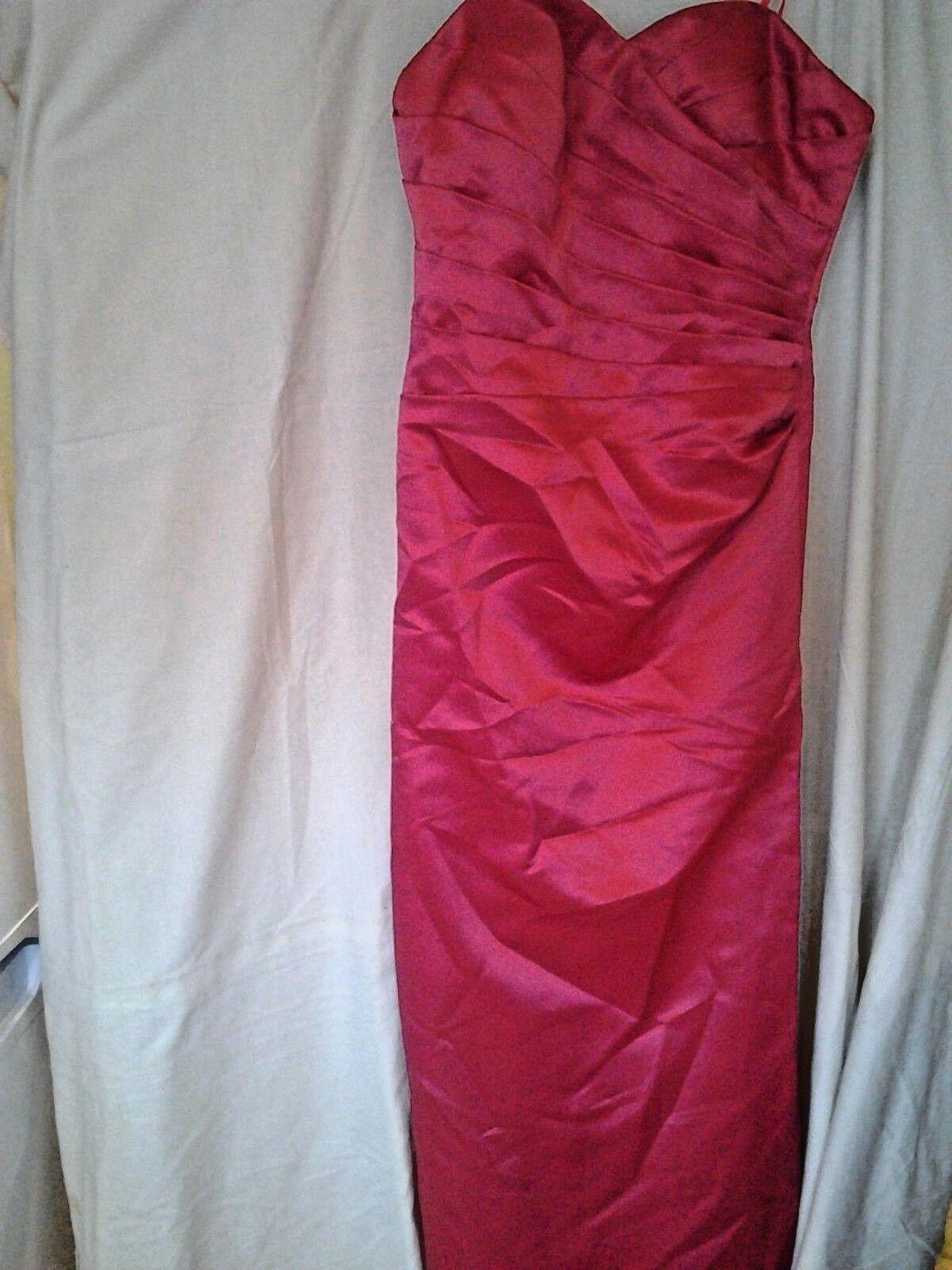 2 Bridesmaids dresses 14 and 16 full length strapless false crossover polysatin