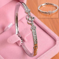 H Women Lady Crystal Rhinestone Heart Bangle Silver Plated Bracelet Jewelry Gift