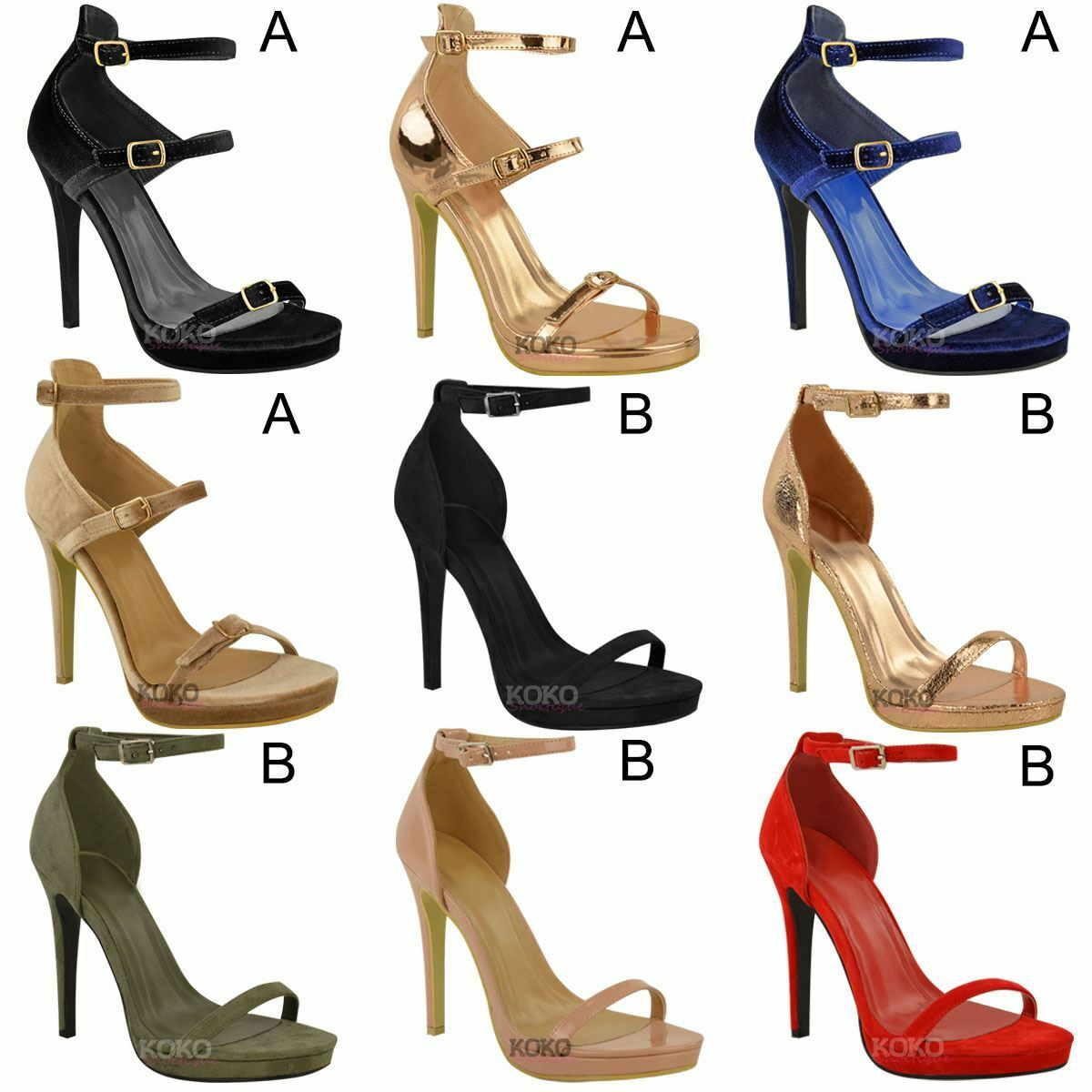 Womens Strappy Ladies High Heel Stiletto Peep Toe Ankle Strappy Womens Party Sandals Shoes Size 852354