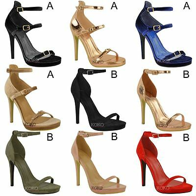 LADIES WOMENS STRAPPY PEEP TOE STILETTO HIGH HEELS SHOES SIZES UK 3 4 5 6 7 8