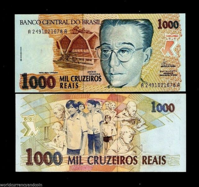 BRAZIL 1000 CRUZEIROS REAIS P240 1993 SCHOOL CHILDREN UNC LATINO MONEY BANK NOTE