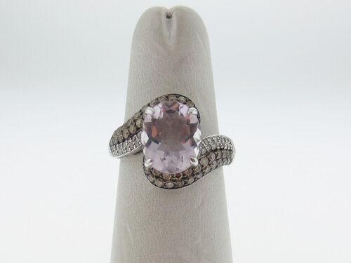 Natural Pink pink Quartz Champ Diamonds Solid 10K White gold Ring FREE Sizing