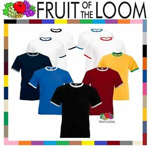 Fruit-of-the-Loom-Mens-Short-Sleeve-Plain-Ringer-T-Shirt-Shirt-Two-Tone-Contrast