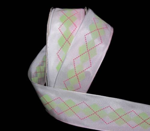 "5 Yards Pink Green White Preppy Argyle Ribbon 1 1//2/""W"