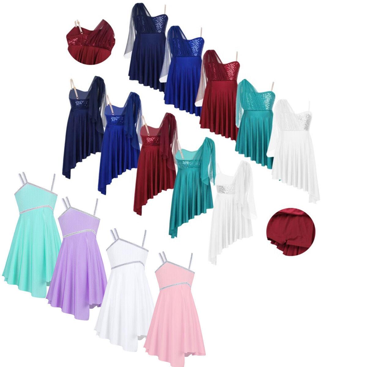 Kids Girls Ballet Lyrical Dance Dress Irregular High-low Skirt Modern Dance Wear