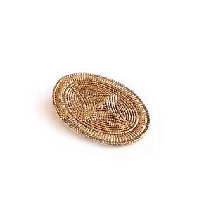 LADIES-SCARF-RING-METAL-CLIP-VINTAGE-GOLD-TONE-OVAL-SHAPED-ORNATE-DESIGN