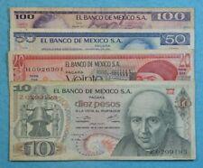 MEXICO SET LOT 4 BANKNOTES CIRCULATED 1970'S 1980'S 10 20 50 100 pesos 4 bills