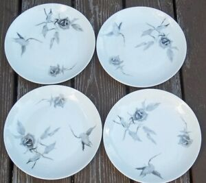 SET-OF-4-ROSENTHAL-CONTINENTAL-JET-ROSE-Bread-Butter-Plates-RAYMOND-LOEWY