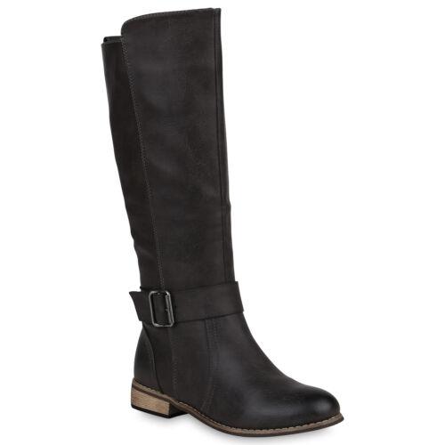 Damen Bikerstiefel Leder-Optik Stiefel Schuhe 818942 Trendy Neu