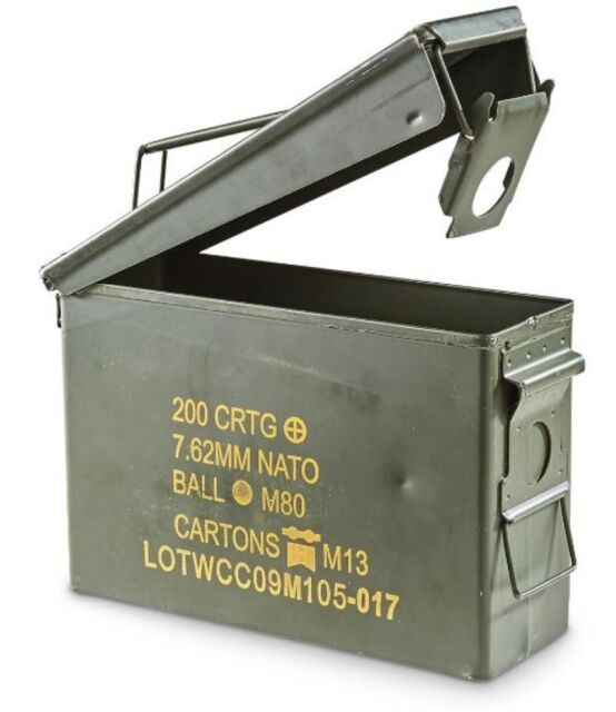 Ammo Box Can 30 Cal Ammunition Steel Fully Sealed Used EX Military Army