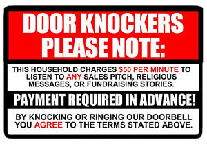 No-Soliciting-sign-Decal-Sticker-50-per-minute-Door-Knockers-Funny-window-9-3-034