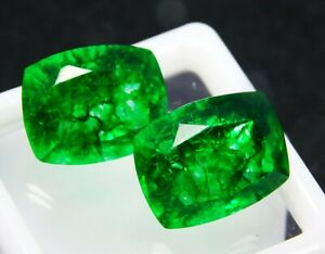 CERTIFIED-Natural-Earring-039-s-Pair-Zambian-Green-Emerald-Loose-Gemstone-8-Ct