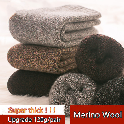 5 Pairs Mens 95/% Merino Wool Thermal Thicken Fleece Comfort Winer Socks Lot 7-11