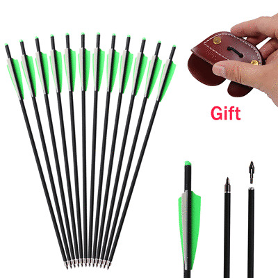 20/'/' Archery Carbon Crossbow Arrows Hunting Replacement Field Tips Finger Guard