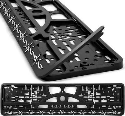 2x NUMBER PLATE FRAME SURROUND HOLDER WITH RAISED CHROME LETTERS R351141