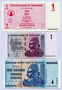Image Is Loading Zimbabwe 1 Cent Dollar Amp 100 Trillion