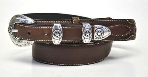 Nocona Men/'s Western Ranger Star Leather Belt /& Buckle-Brown-N2481802