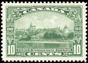 Mint-H-Canada-1935-F-VF-Scott-215-10c-Windsor-Castle-Silver-Jubilee-Stamp