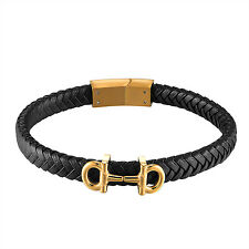 14K Yellow Gold Tone Mens AA Design Black Braided Bracelet Stainless Steel