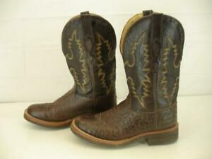 f58fa4294f2 Boys Girls 7 M Old West Brown Ostrich Skin Leather Cowboy Boots ...