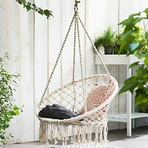 Indoor Hanging Swing Chair Knitted Rope Hammock Seat Summer Outdoor