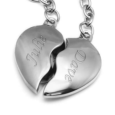 Split Heart Engraved His n Her Keyrings Personalised Valentines Wedding Gift
